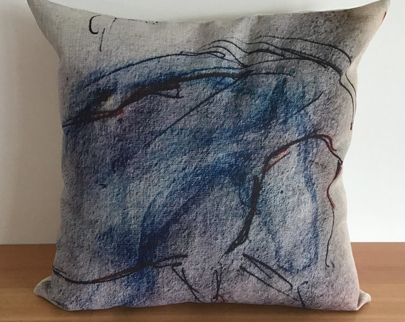 """Abstract Blue Horse Pillow Cover 20"""" by 20"""""""
