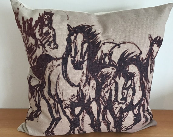 """Stampeding Horses Pillow Cover 20"""" by 20"""""""