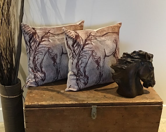 """Brown Wire Horse Pillow Cover 20"""" by 20"""""""