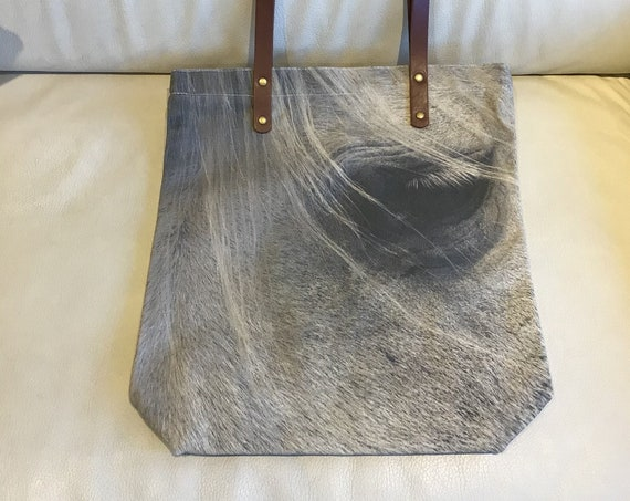 Horse Eye Canvas Tote Bag with Vegan Leather Handles, Zipper and Lining