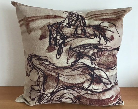 """Brown Running Horses Pillow Cover 20"""" by 20"""""""