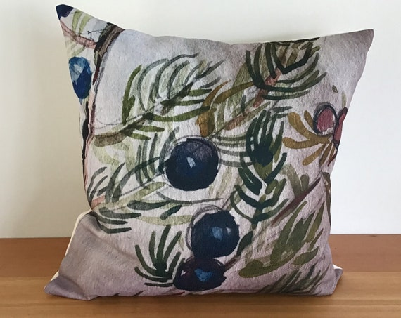 "Wildflower Pillow Cover - Floral Pillow Cover - Wild Juniper - Indoor/Outdoor Pillow 20 "" by 20"" - Patio Pillow - Linen Pillow Cover"