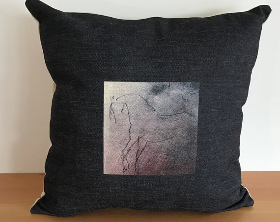 """Black and White Horse Pillow Cover 20"""" by 20"""""""