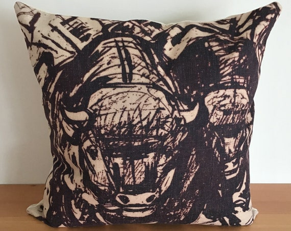 """Stampeding Buffalo Pillow Cover 20"""" by 20"""""""