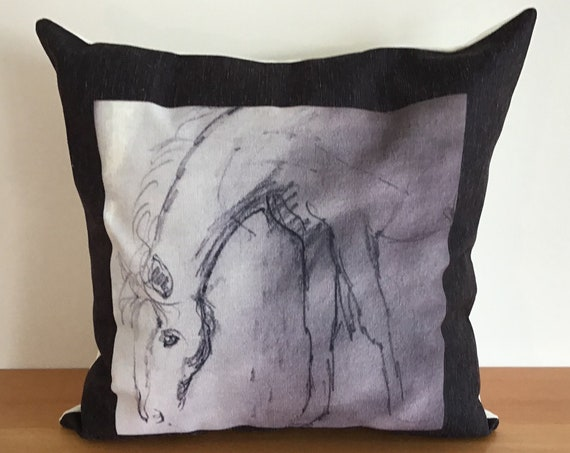 "Black and White Horse Pillow Cover 20"" by 20"""