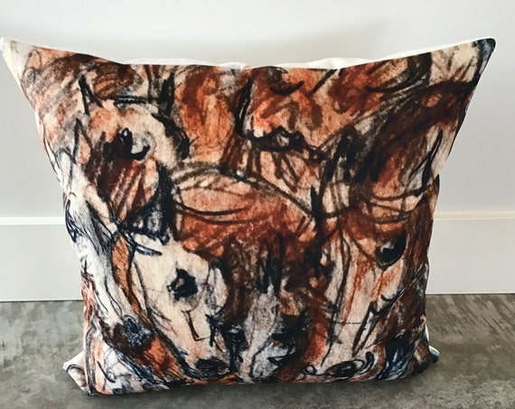 "Modern Horse Pillow Cover 20"" by 20"" - Equestrian Pillow Cover - Western Decor Pillow Cover"