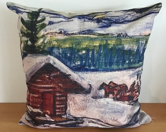 """Winter Cabin Pillow Cover 20"""" by 20"""""""