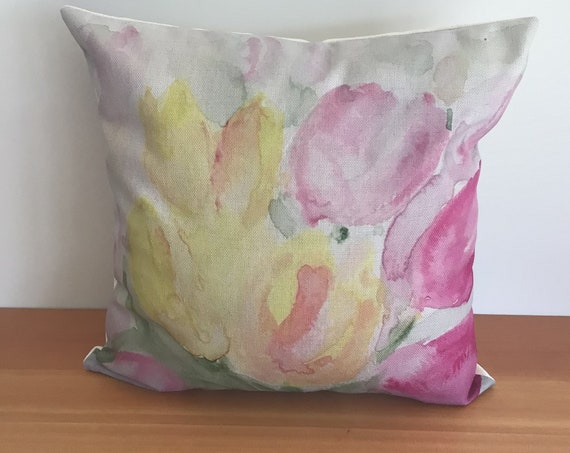 """Modern Floral Tulip Pillow Cover - Spring Pillow - Indoor/Outdoor Pillow Cover - Patio Pillow - Linen 20"""" by 20"""" Pillow Cover"""
