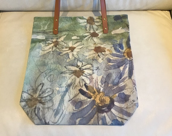 """Wild Daisy Canvas Tote Bag 15.5 """" by 15"""" with Vegan Leather Handles and Zipper"""