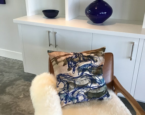 """Blue Running Horses  Pillow Cover 20"""" by 20"""""""