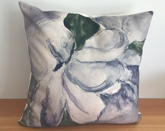 """Modern Floral Peony Pillow Cover - Spring Pillow - Indoor/Outdoor Pillow - Patio Pillow - 20"""" by 20"""" Linen Pillow  over"""