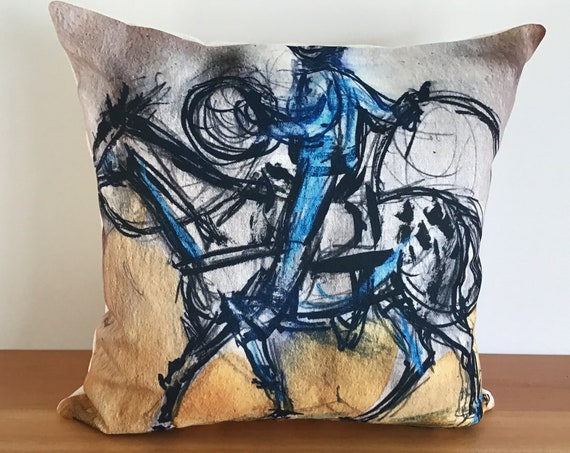 "Stylized Blue Cowboy 20"" by 20"" Linen Pillow Cover"