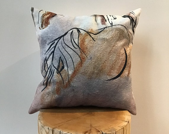 Modern Stylized Horse Pillow Cover - Equestrian Pillow Cover - Western Pillow Cover - Linen Pillow Cover