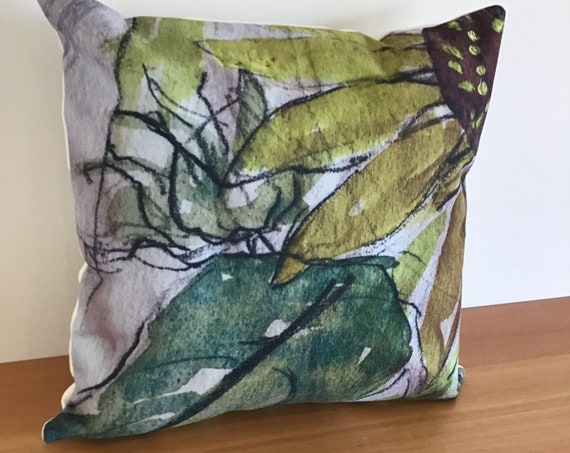 "Floral Pillow Cover - Artistic Sunflower Pillow Cover - Indoor/Outdoor Pillow Cover 20"" by 20""  Patio Pillow Cover Linen Pillow Cover"