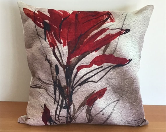 """Vibrant Indian Paint Brush Indoor/Outdoor Pillow Cover 20"""" by 20"""" - Floral Pillow Cover - Decorative Pillow - Linen Patio Pillow"""