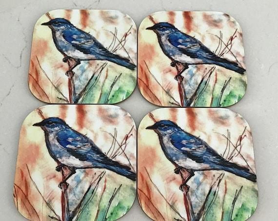 Mountain Bluebird 4 Coaster Set