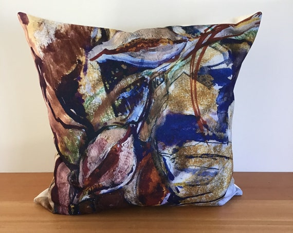 "Modern Artistic Fall 20"" by 20"" Linen Pillow Cover"