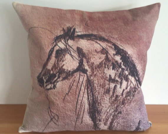 """Modern Brown Horse Pillow Cover 20"""" by 20"""" - Western Pillow - Equestrian Pillow - Linen Pillow Cover"""