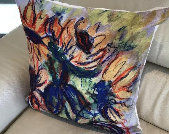 "Artistic Sunflower Pillow Cover - Floral Pillow Cover - Indoor/Outdoor Pillow Cover 20"" by 20"" -  Patio Pillow Cover - Linen Pillow Cover"