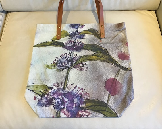 """Wild Mint Canvas Tote Bag 15.5"""" by 15"""" with Vegan Leather Handles and Zipper"""