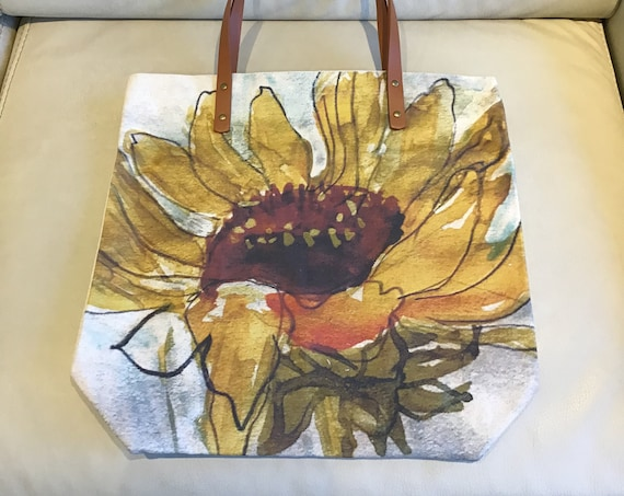"""Sunflower Canvas Tote Bag 16.5 """" by 16.5 """" with Vegan Leather Handles and Zipper"""