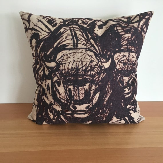"""Buffalo Herd Pillow Cover 20"""" by 20"""""""