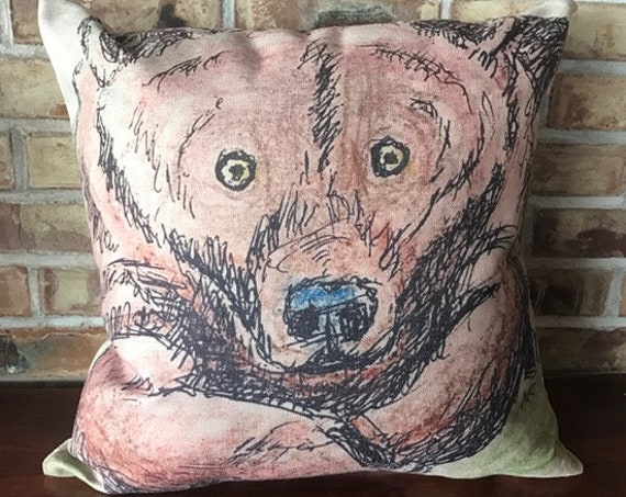 Bear Linen Decorative Pillow Cover