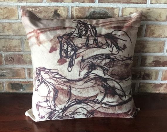 Rustic Modern Brown Running  Horses  Linen Decorative Pillow Cover