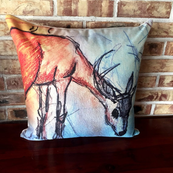 Rustic Modern Deer Grazing Linen Pillow Cover