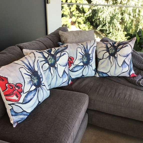 """Modern Floral Indoor/Outdoor Pillow Cover 20"""" by 20"""""""