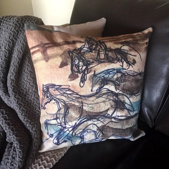 Rustic Modern Horse Running Linen Pillow Cover