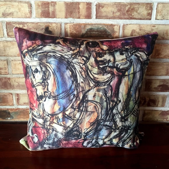 Arabian Horse Linen Cushion Cover