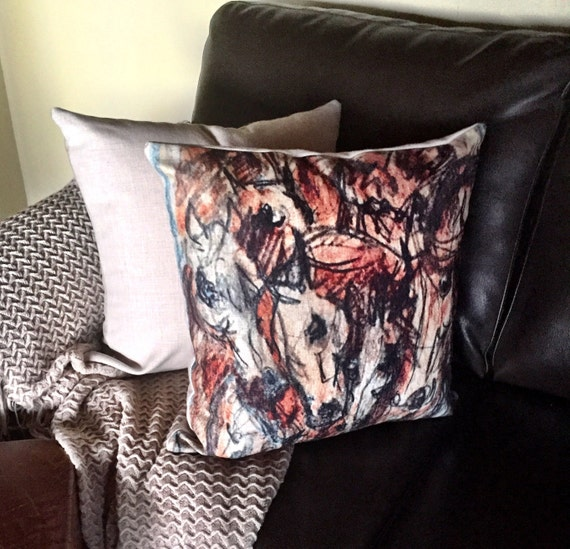 Rustic Modern Wild Horses Linen Decorative Pillow Cover