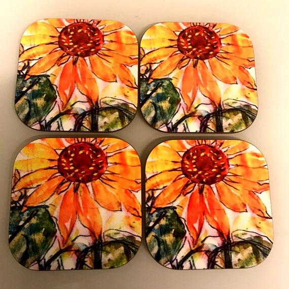 Gorgeous set of 4 Sunflower Coasters