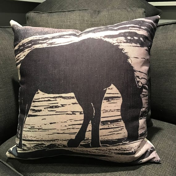 Vintage Inspired Wild Horses  Linen Pillow Cover