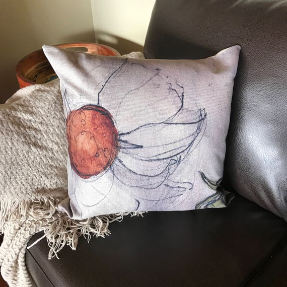 Rustic Modern Floral Linen Decorative Pillow Cover