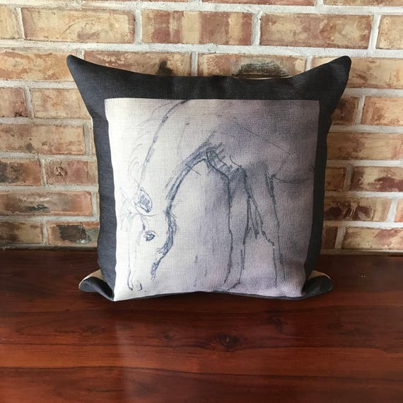 Rustic Modern Black and White Horse Linen Decorative Pillow Cover