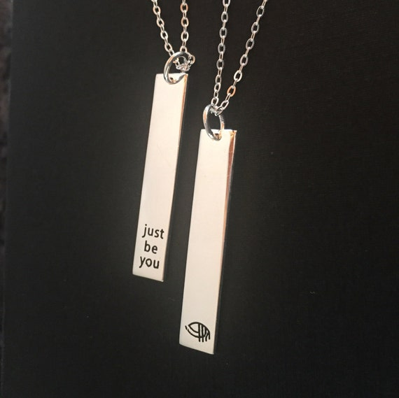 Just Be You .925 Silver Rectangular Charm on long chain necklace