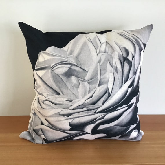 "Gorgeous Modern Designer Pillow Cover 20"" by 20"" - Floral Pillow - Black and White Pillow - Contemporary  Rose Pillow - Linen Pillow"