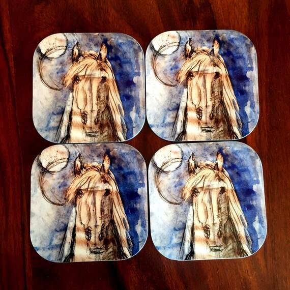Gorgeous Set of 4 Blue Horse Coasters