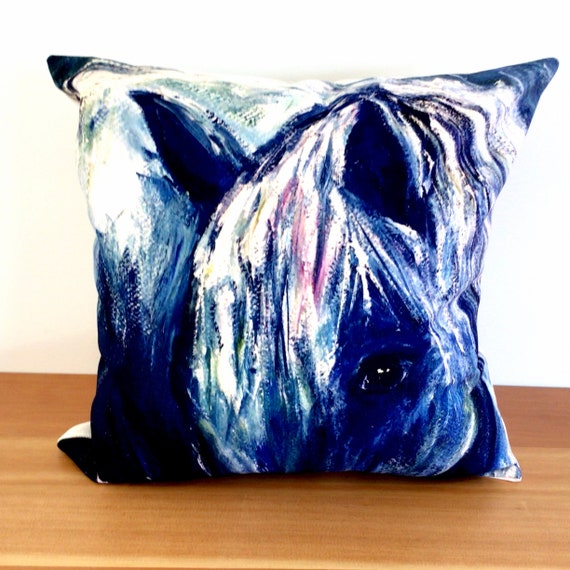 """Abstract Blue Horse Pillow Cover 20"""" by 20"""" - Equestrian Horse Pillow Cover - Linen Pillow Cover"""