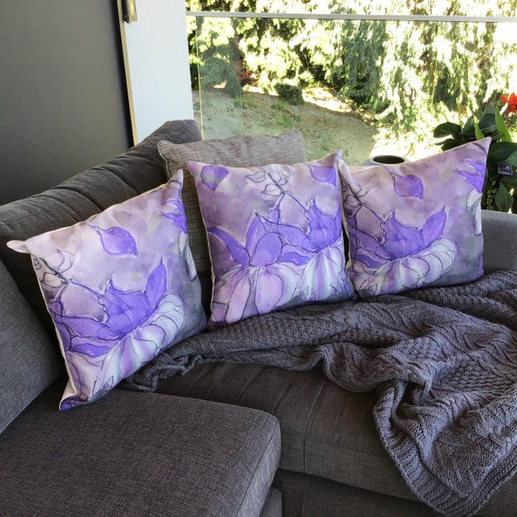 """Floral Pillow Cover - Decorative Flower Pillow Cover - Indoor/Outdoor Pillow 20 """" by 20"""" - Fushia Patio Pillow - Linen Pillow Cover"""