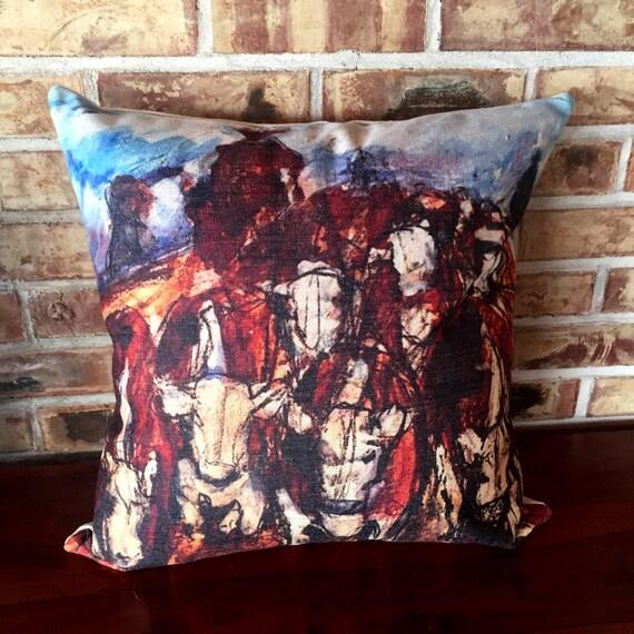 Rustic Modern Herding Cattle Linen Decorative Pillow Cover