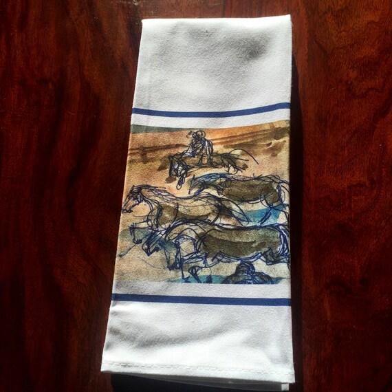 Gorgeous Blue Running Horses Cotton Teatowel