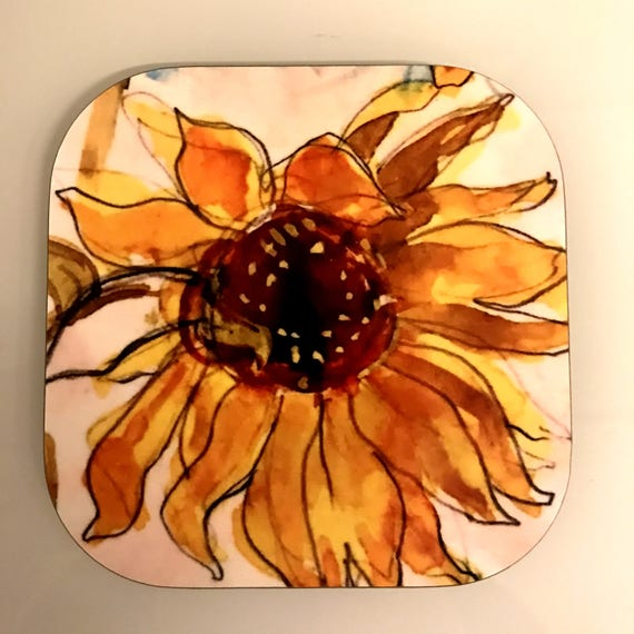 Gorgeous set of 4 Sunflower Coasters