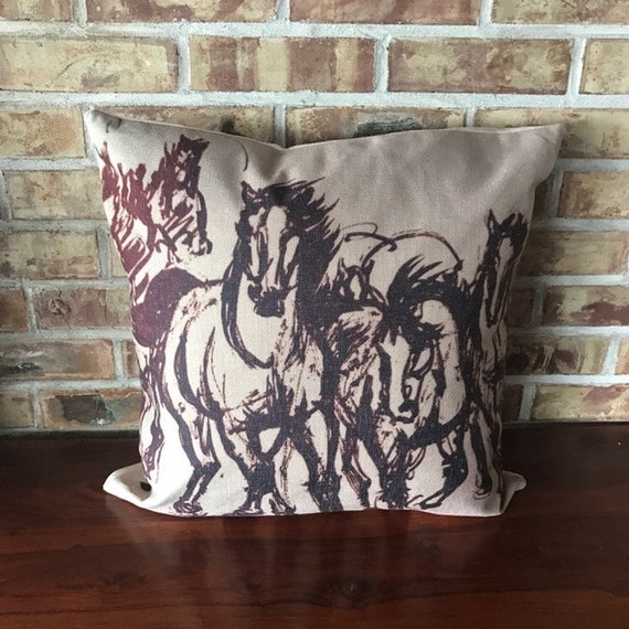 Rustic Modern Stampeding Horses  Linen Decorative Pillow Cover