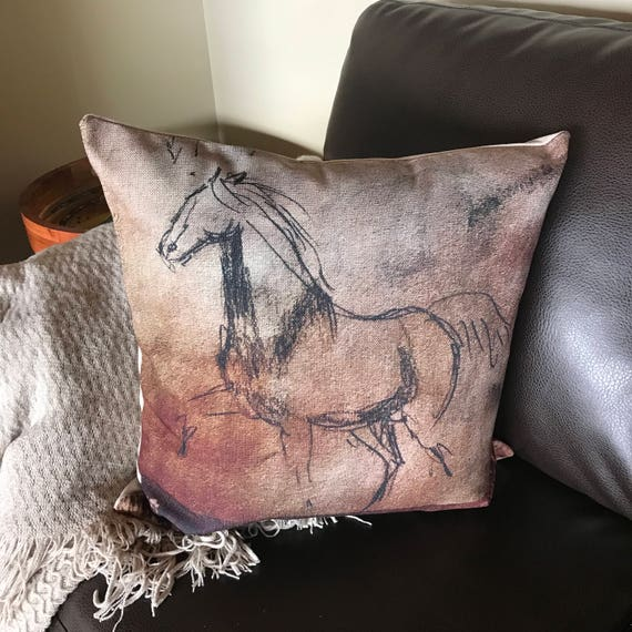 Prancing Mare Linen Horse Pillow Cover