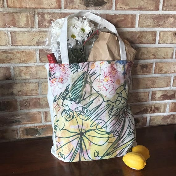Whimsical Floral Art Linen Shopping, Market Bag
