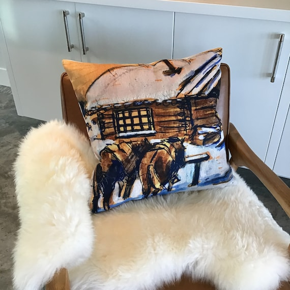 Rustic Modern Horses at Cabin Decorative Pillow Cover