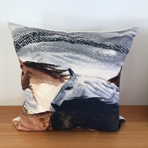 "Modern Horse Pillow Cover - Western Decor - Farmhouse Decor - Equestrian Decor - 20"" by 20"" Linen Pillow Cover"